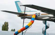 Airplane Playground Equipment - This Giant Slide Extends from the Side of a Tupolev Tu-124 Jet