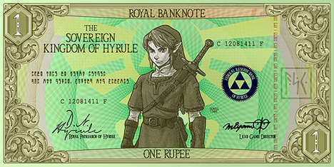 Gamer Paper Bill Designs  - These Paper Bills Showcase Beloved Video Game Characters from Zelda