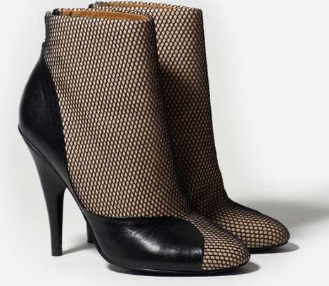Mesh and Leather Ankle Boot
