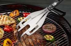 Triple Threat BBQ Tools - Grill Wrangler Combines Three Implements in One for Efficient Food Prep