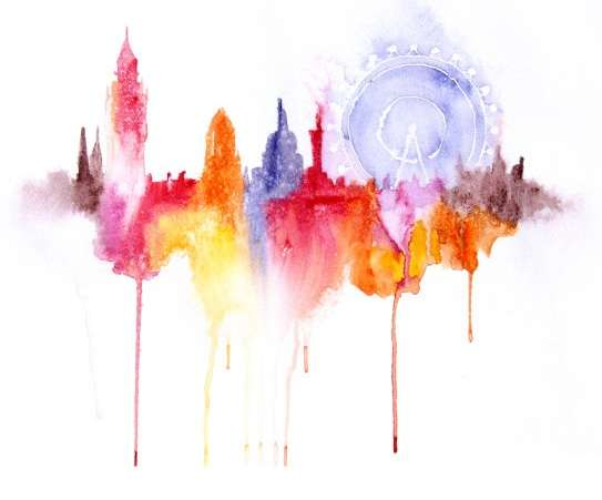 Dripping Watercolor Cityscapes