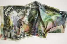 Crumpled US Currency Captures - Paul Rousso Displays Amplified American Cash as Artwork