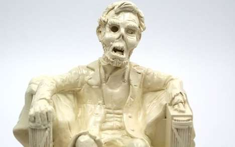 Undead President Piggy Banks - The Zombie Lincoln Resin Coin Bank is Historically Mortifying