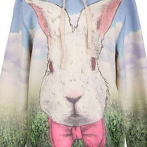 Bunny Holiday Apparel - A Rabbit Print Hoodie is an Essential for Festive Easter Outfits