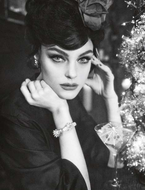 Retro Monochromatic Photo Shoots - The Numero France Shoot Features Model Jessica Stam