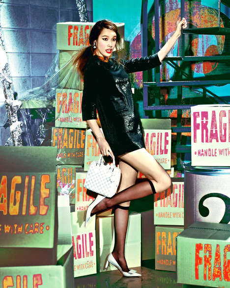 Colorfully Checkered Fashion Styles - The Vogue Korea Shoot Features Model Song Kyung Ah