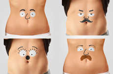 Animated Stomach Tattoos - The Talking Bellies Temporary Tattoos Will Make Your Stomach into a Face