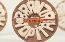 Cheesy Typographic Branding - Gruia Cheese Packaging Uses Yummy Dairy Goods to Spell What's Inside