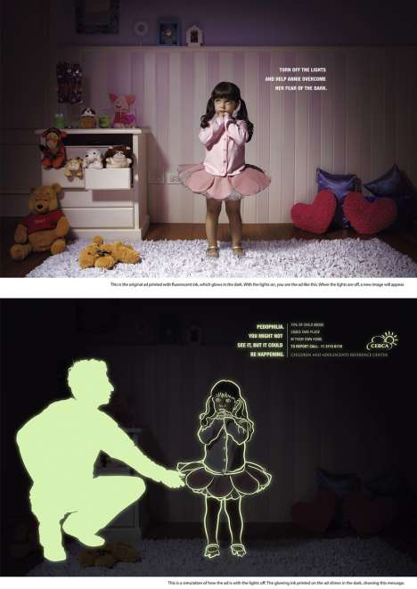 Glow in The Dark Ads - Child Abuse Ads Show Hidden Images