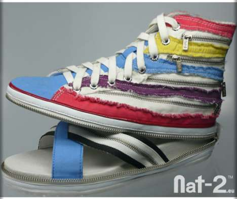 Convertible Sneaker Slippers - Nat-2 Unzip to Transform