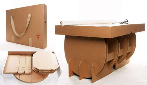 Table in a Suitcase - Portable Cardboard Table