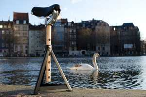 Stool 3T3 Incorporates a Traditional Bike Seat with a Tripod Mount