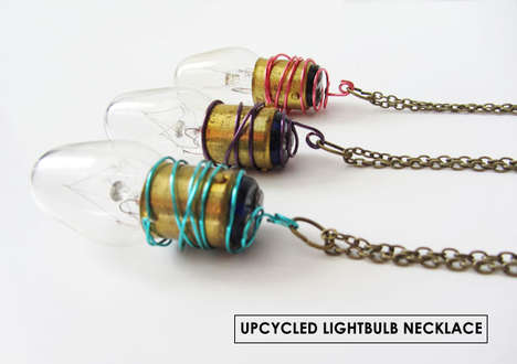 Upcycled Light Bulb Jewelry - This Necklace Makes Use a Burnt Out Bulb as a Statement Piece