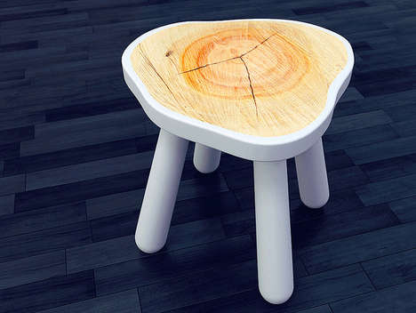 Painted Organic Wood Seating - The Stool by Vladislav Zhukovets Beautifully Retains Its Natural Look