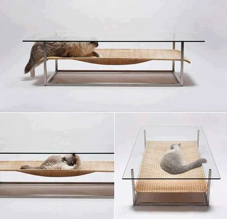 Clever Feline Hammock Tables  - This Coffee Table for Cats by E&Y is Perfect for Any Pet Owner