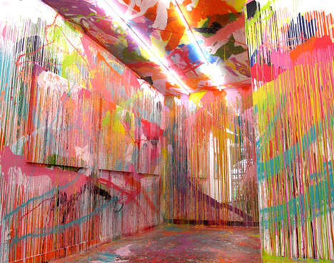 Chromatically Splattered Expressionist Installations - Rowena Martinich