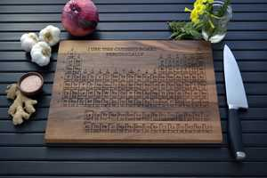 The Periodic Table Engraved Wooden Cutting Board is for the Nerdy Chef