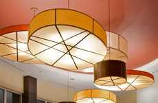 Tambourine Textile Lamps - The Drum Shade Pendant Light by Fire Farm Lighting is Expressive and Warm