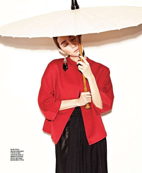 Saturated Orientalist Editorials - The Singles Korea Valley of Flowers Displays Asian Motifs