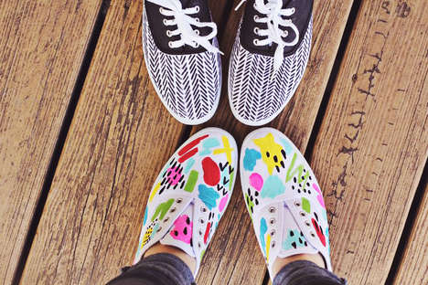 Flamboyant DIY Spring Sneakers - A Beautiful Mess DIY Sneakers Add Spring to Your Step