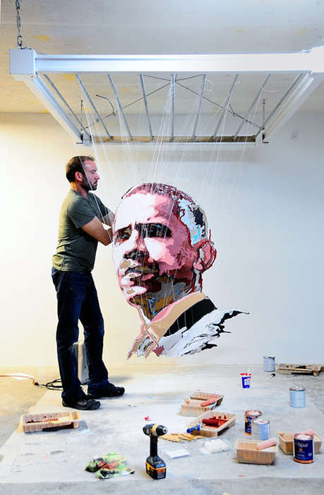 Paper Presidential Portraits - The President Obama Cardboard Paper Sculpture is Ornately Beautiful