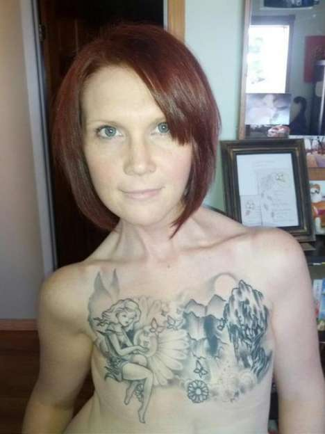 Viral Tattoo Activism - Kelly Davidson's Chest Tattoo Makes the Fight Against Breast Cancer Go Viral