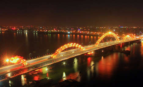 Fire-Breathing Bridges - This $85 Million Dragon Bridge in Vietnam Lights Up and Breathes Fire