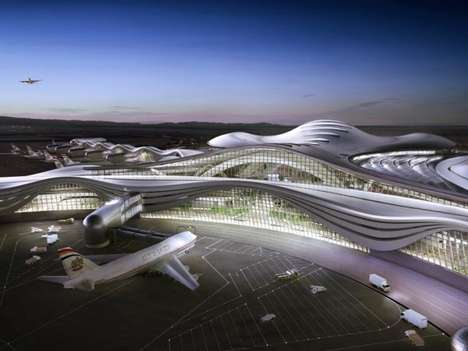 Space-Age Airline Pavilions - The Midfield Terminal Airport Complex Features a Futuristic Design