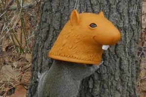 The Big Head Squirrel Feeder is a Cartoonish Mask for Squirrels