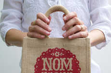 Eclectic Burlap Lunch Bags - The Nom Nom Lunch Bag is Spacious and Spectacularly Cute