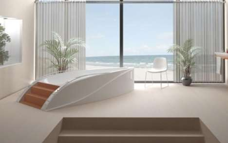 Modern Motorboat Bathtubs - The Float Series was Inspired by the Elegant Form of the Yacht