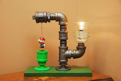 Vintage Gamer Desk Lights - The Mario Bros Pipe Lamp Brings Warp Pipes to Your Living Room