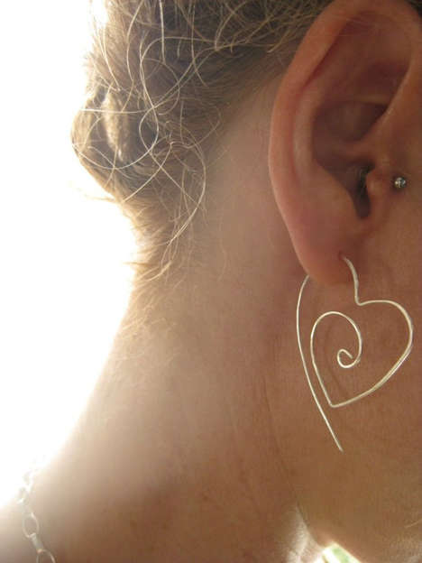 Silver Tribal Heart Hoops by Lotus Handmade