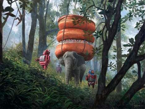 Donut-Infused Robot Paintings - Eric Joyner Brings Donuts & Robots Together in a Nonsensical Series