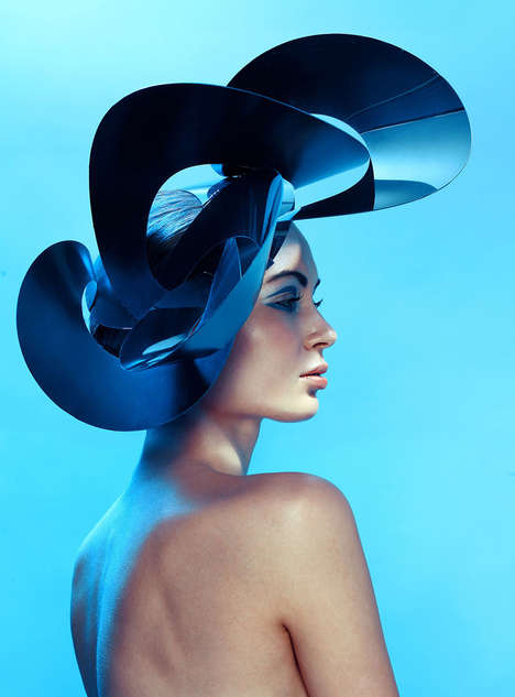 Sculptural Headpiece Editorials - The Electric Blue Image Series by Magda Zych Defies Convention