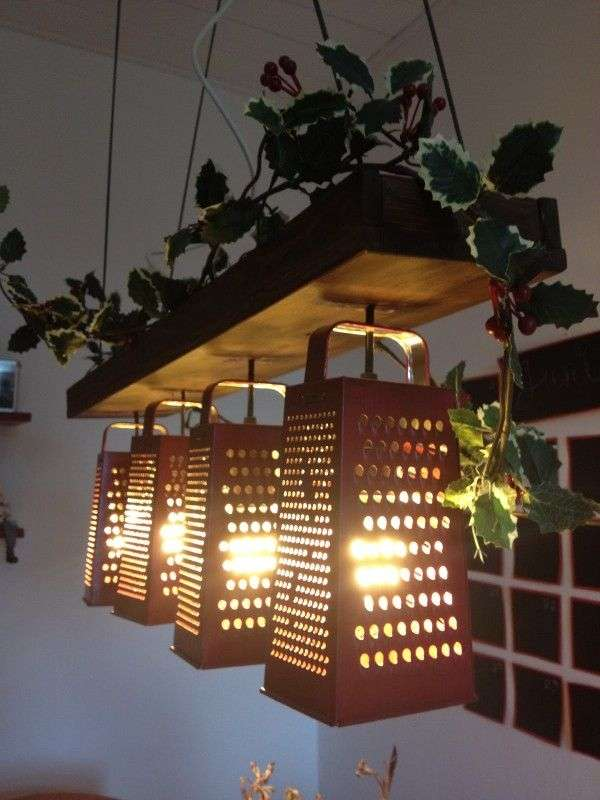 Upcycled Cheese Grater Lamps