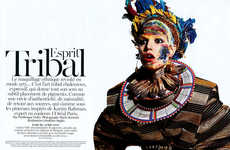 Ethnic War Paint Editorials - The Esprit Tribal French Vogue Beauty Story Highlights Vivid Cosmetics