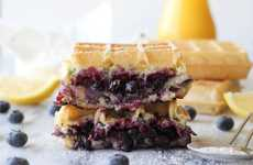 Gourmet Breakfast Sandwiches - The Brie and Blueberry Waffle Grilled Cheese is Perfect for Brunch