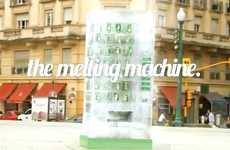 Melting Ice Drink Dispensers - The 7UP Vending Machine is Made from Blocks of Ice That Melt