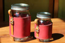Portable Mason Jar Sleeves - The Chug-a-Lug Leather Cosy Will Turn Your Jar into a Portable Cup