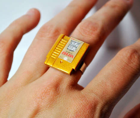 Dapper Video Game Jewelry - These Rings and Earrings Look Just Like Old Nintendo Cartridges
