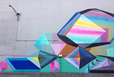 Vibrant Geometric Graffiti - This Josef Kristofoletti Artwork Brightens This Wall in Panama City