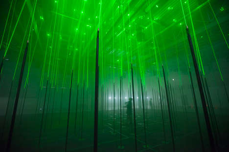 Electric Illumination Installations - Marshmallow Laser Feast Creates a Forest Made of Laser Beams