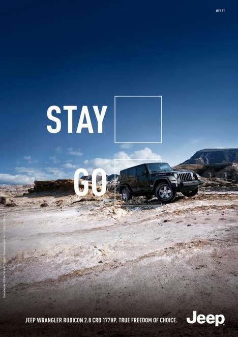 Adventure Encouraging Auto Ads - This Jeep Print Ad Answers a Simple Question About Travel Abilities