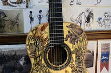 Fantasy Trilogy-Designed Guitars - This Guitar by Vivian Xiao is Covered with Lord of the Rings Art