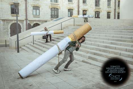 Backbreaking Cigarette Ads - This 'Weight of Tobacco' Print Ad Showcases the Burden of Smoking