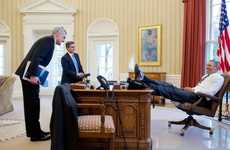 Carefree Presidential Snapshots - The Lean-Back President by Vanity Fair Set Captures Obama Relaxing