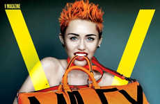 Pastel Punk Photo Shoots - The Miley Cyrus Fashion Shoot by Mario Testino is Provocatively Sharp