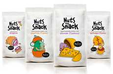 Personified Peanut Branding - Nuts for Snack Packaging Features Cute Characters That'll Crack You Up