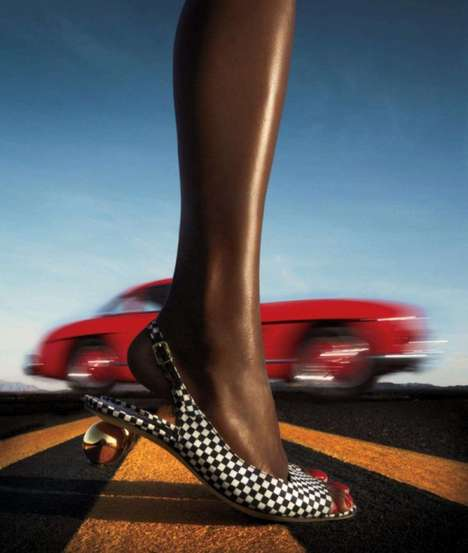 Road-Ready Footwear Editorials - The Harper's Bazaar 'Vroom' Photoshoot Mixes in Vintage Vehic